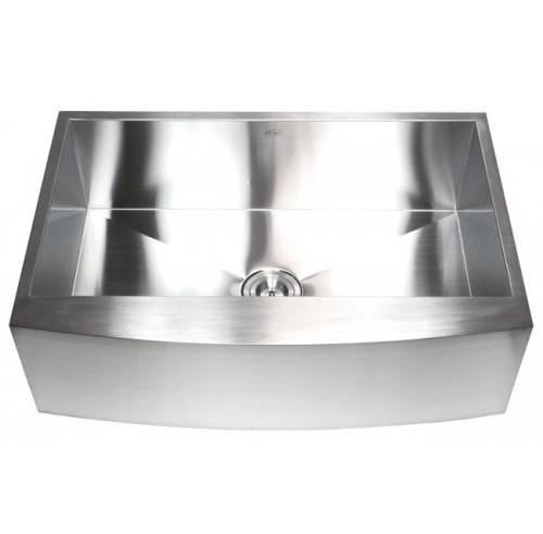 33 Inch Stainless Steel Single Bowl Curved Front Farmhouse Apron Kitchen Sink Zero Radius Design