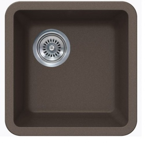 Sinful Mocha Quartz Composite Undermount Kitchen Sink - 14-7/8 x 14-7/8 x 7 Inch