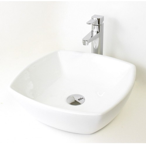 White / Black Porcelain Ceramic Countertop Bathroom Vessel Sink - 16-1/2 x 16-1/2 x 5-3/8 Inch