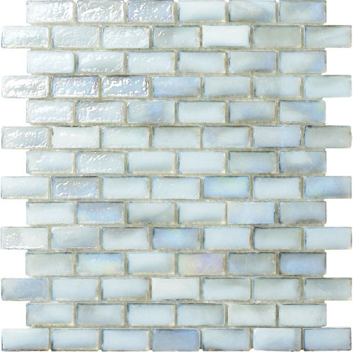 White Irredescent Reflection Rippled Glass Brick Mosaic Tile Mesh Backed Sheet