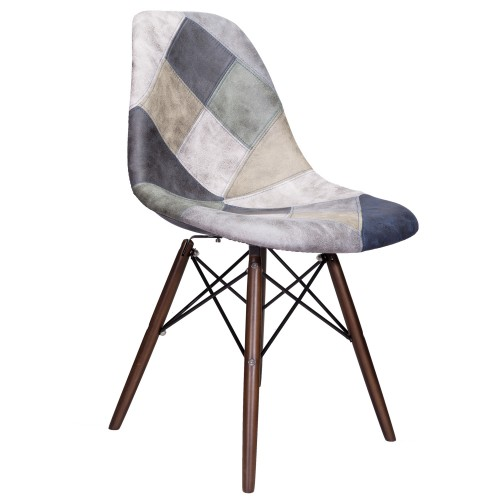 Mooku Blue & Gray Patchwork Leatherette Fabric Upholstered DSW Dining Side Accent Chair with Dark Walnut Leg