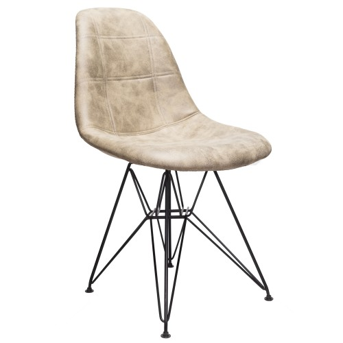 Moomin Checkerboard Light Brown Leatherette Fabric Upholstered DSR Dining Side Accent Chair with Black Steel Leg