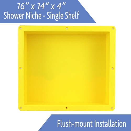 "Ready For Tile Waterproof Leak Proof 16"" x 14"" Square Bathroom Recessed Shower Niche - Single Bathroom Shelf Organizer Storage For Shampoo & Toiletry Storage STR-1614 - Flush Mount Installation"
