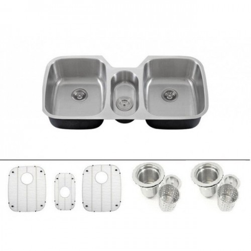 43 Inch 16 Gauge Stainless Steel Undermount Triple Bowl Kitchen Sink with FREE ACCESSORIES