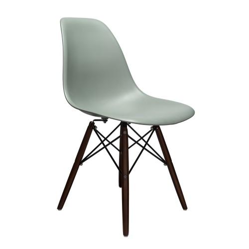 Nature Series Moss Gray DSW Molded Plastic Dining Side Chair Dark Walnut Wood Eiffel Leg