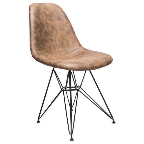 Markle Dark Brown Leatherette Fabric Upholstered DSR Dining Side Accent Chair with Black Steel Leg