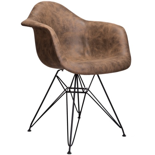 Markle Dark Brown Leatherette Fabric Upholstered DAR Armchair Accent Chair with Black Steel Leg