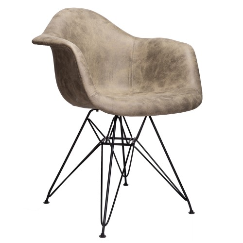 Markle Light Brown Leatherette Fabric Upholstered DAR Armchair Accent Chair with Black Steel Leg