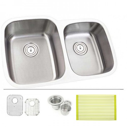30 Inch Stainless Steel Undermount Double Bowl 60/40 Offset Kitchen Sink - 18 Gauge FREE ACCESSORIES