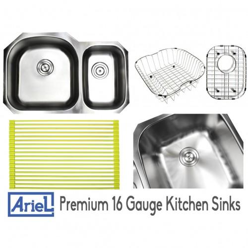 Ariel Pearl 32 Inch Premium 16 Gauge Stainless Steel Undermount 70/30 D-Bowl Offset Kitchen Sink with FREE ACCESSORIES