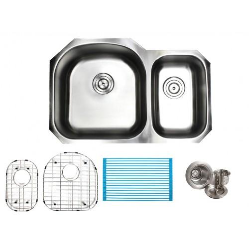 32 Inch Stainless Steel Undermount Double 60/40 D-Bowl Offset Kitchen Sink - 16 Gauge FREE ACCESSORIES