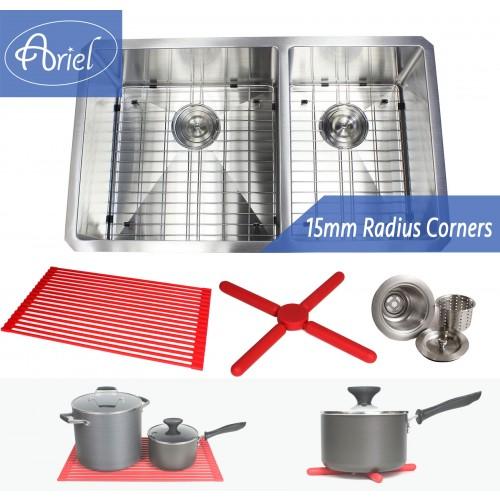 Ariel 32 Inch 16 Gauge Undermount Double Bowl Stainless Steel 60/40 Sink Premium Package 15mm Radius Design