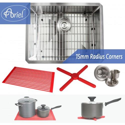 Ariel 23 Inch 16 Gauge Undermount  Single Bowl Stainless Steel Sink Premium Package 15mm Radius Design