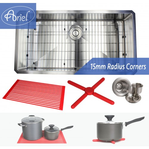 Ariel 36 Inch 16 Gauge Undermount Single Bowl Stainless Steel Sink Premium Package 15mm Radius Design