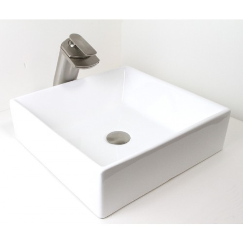 European Style Porcelain Ceramic Countertop Bathroom Vessel Sink - 17 x 17 x 5 Inch