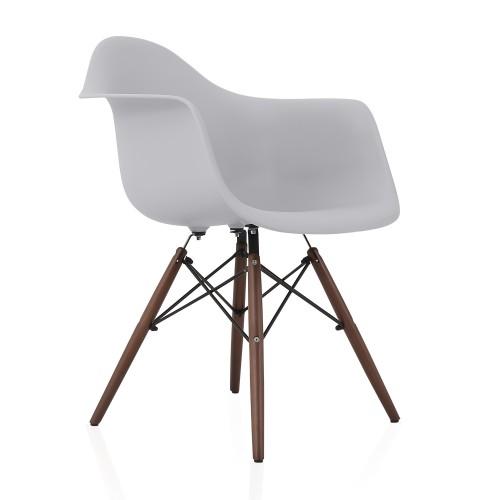 DAW Light Gray Plastic Dining Armchair with Dark Walnut Wood Eiffel Legs