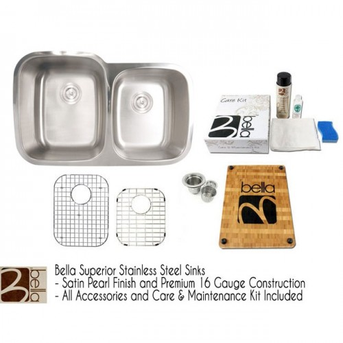 Bella 32 Inch Premium 16 Gauge Stainless Steel Undermount Double Bowl 60/40 Offset Kitchen Sink with FREE ACCESSORIES