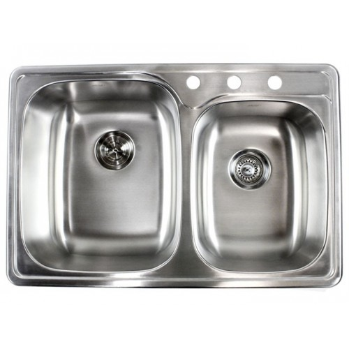33 Inch Stainless Steel Top Mount Drop In 60/40 Double Bowl Kitchen Sink - 18 Gauge