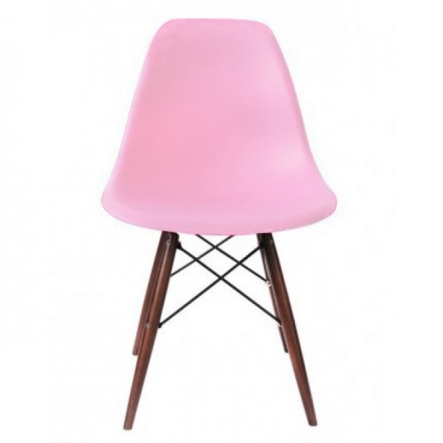 Eames Style DSW Molded Pink Plastic Dining Shell Chair with Dark Walnut Wood Eiffel Legs