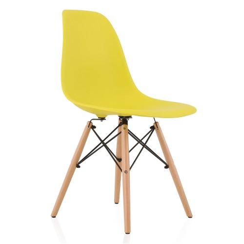 DSW Molded Light Yellow Plastic Dining Shell Chair with Wood Eiffel Legs