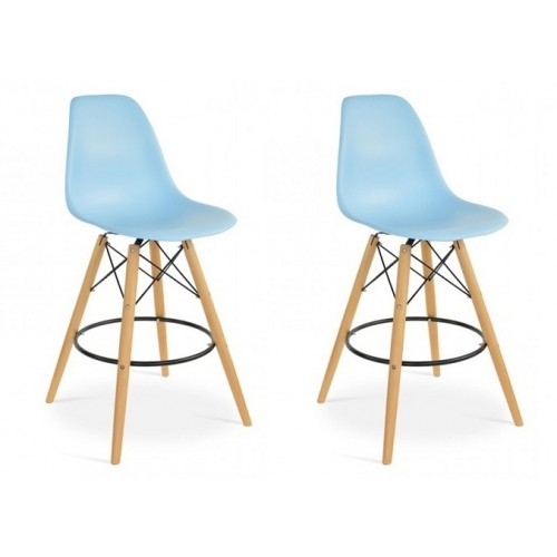 Set of 2 Eames Style DSW Light Blue Plastic 26 Inch Counter Stool with Wood Eiffel Legs