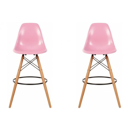 Set of 2 Eames Style DSW Pink Plastic 26 Inch Counter Stool with Wood Eiffel Legs