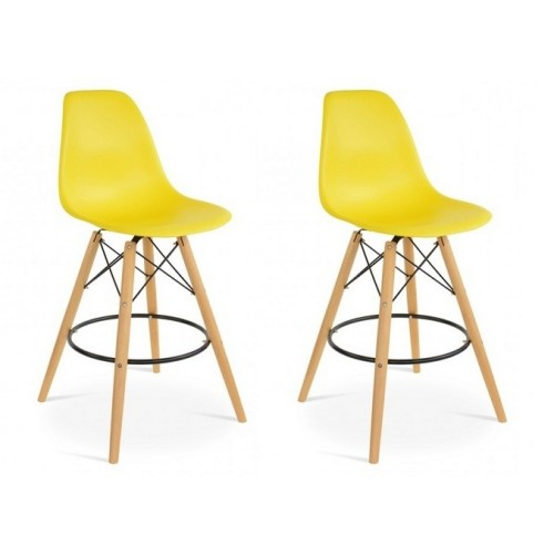 Set of 2 Eames Style DSW Dark Yellow Plastic 26 Inch Counter Stool with Wood Eiffel Legs