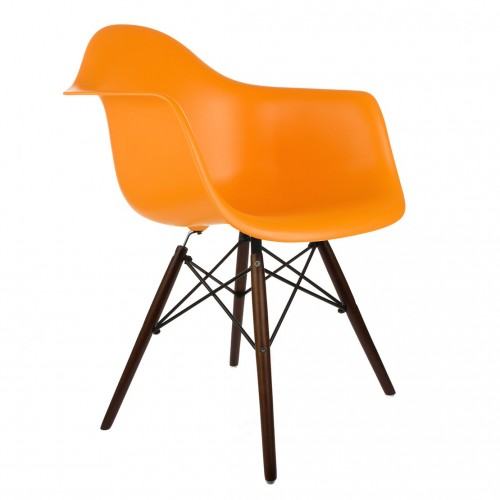 DAW Molded Orange Plastic Dining Armchair with Dark Walnut Wood Eiffel Legs