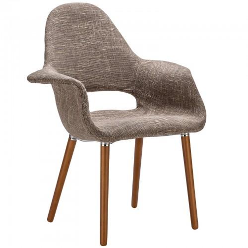 Eames & Saarinen Style Brown Fabric Organic Armchair