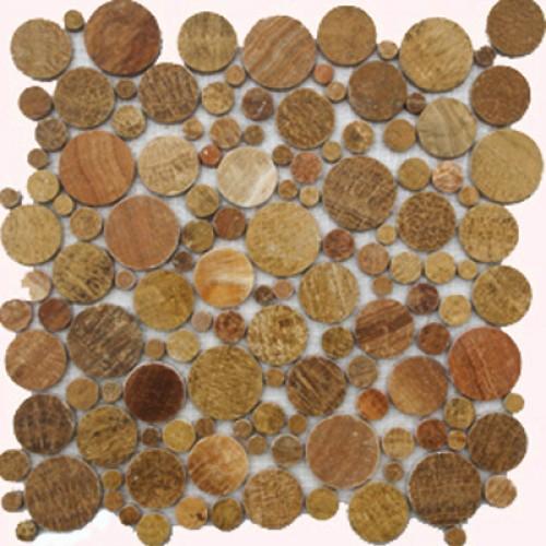Brown Flat Pebble Marble Mosaic Circle Tile Mesh Backed Sheet