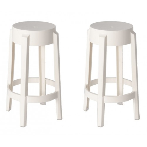 Set Of 2 Victoria Style Ghost Counter Stool White Color
