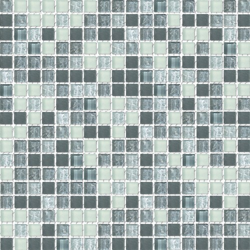 Grayscale Frosted Blend Glass Mosaic Textured Tile Mesh Backed Sheet