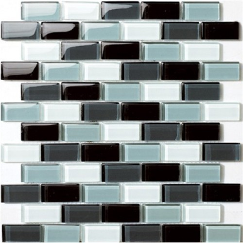 Glossy Black Blend with Grayscale Glass Brick Mosaic Tile Mesh Backed Sheet