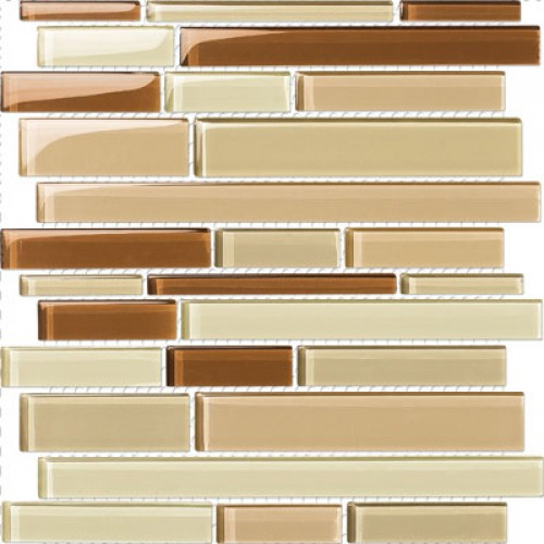 Glossy Brown Cocoa Mix Glass Stick Mosaic Tile Mesh Backed Sheet