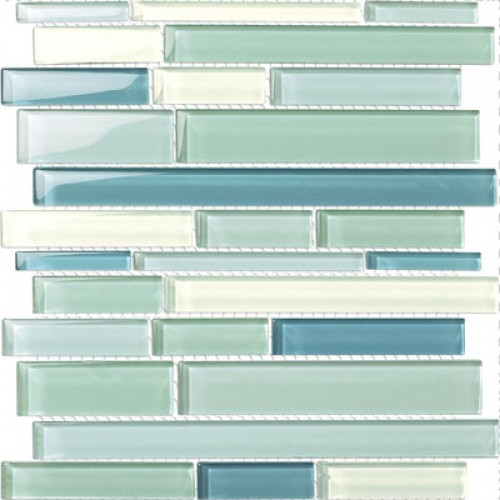 Glossy Sky Blue Mix Glass Stick Mosaic Tile Mesh Backed Sheet