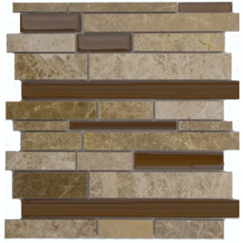 Dark Brown Mable and Dark Brown Glossy Glass Stick Mixed Mosaic Tile Mesh Backed Sheet