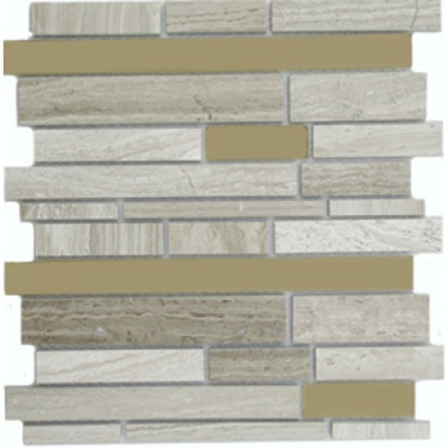 Light Brown Mable and Light Brown Glossy Glass Stick Mixed Mosaic Tile Mesh Backed Sheet