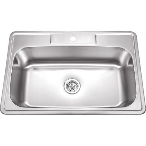 33 Inch Stainless Steel Top Mount Drop In Single Bowl Kitchen Sink w/ One Faucet Hole