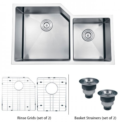 33 Inch Stainless Steel Undermount 60/40 Offset Double Bowl Kitchen Sink with Free Accessories