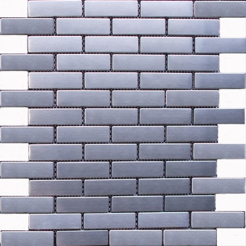 Brick Stainless Steel Mosaic Tile Mesh Backed Sheet
