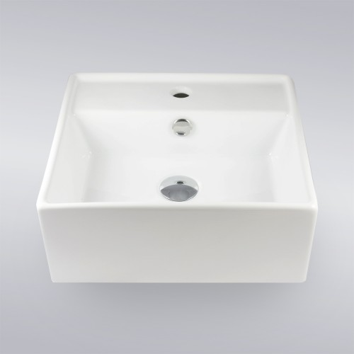 Self Rimming Porcelain Ceramic Single Hole Countertop Bathroom Vessel Sink - 16 x 16 x 6 Inch