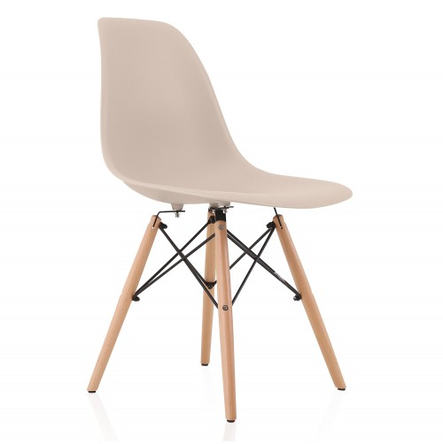 Nature Series Cream Beige DSW Molded Plastic Dining Side Chair Natural Beech Wood Eiffel Legs