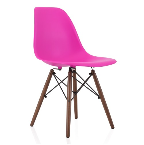 Nature Series Blossom Pink Eames Style DSW Molded Plastic Dining Side Chair Dark Walnut Wood Eiffel Legs