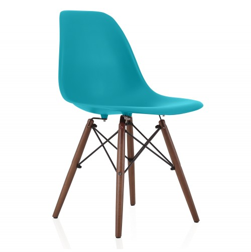 Nature Series Teal Blue DSW Molded Plastic Dining Side Chair Dark Walnut Wood Eiffel Legs