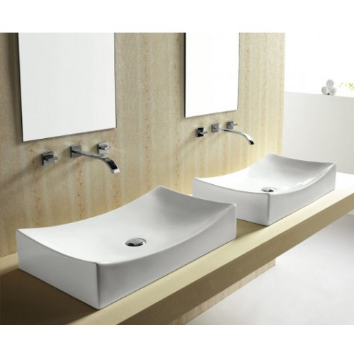European Style Porcelain Ceramic Countertop Bathroom Vessel Sink - 26 x 15-1/2 x 5-1/2 Inch