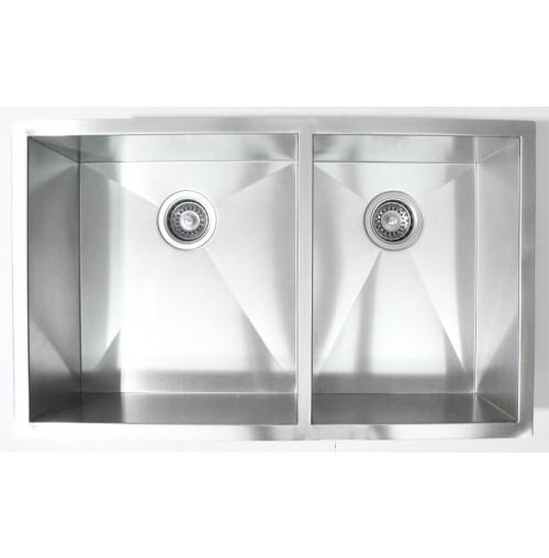32 Inch Stainless Steel Undermount 60/40 Double Bowl Kitchen Sink Zero Radius Design