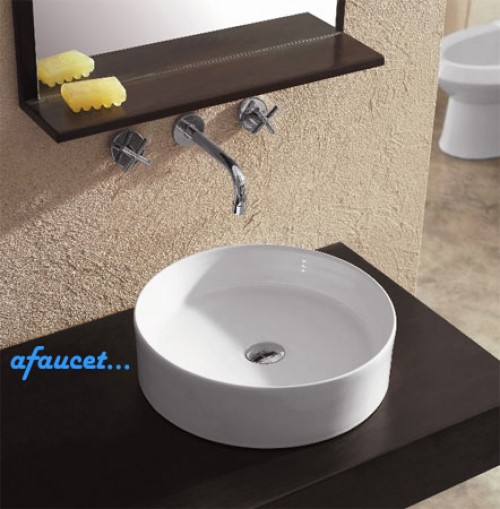 Round European Design White / Black Porcelain Ceramic Countertop Bathroom Vessel Sink - 18-1/8 x 6-1/8 Inch