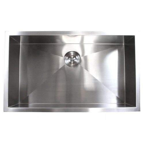 32 Inch Stainless Steel Undermount Single Bowl Kitchen Sink Zero Radius Design