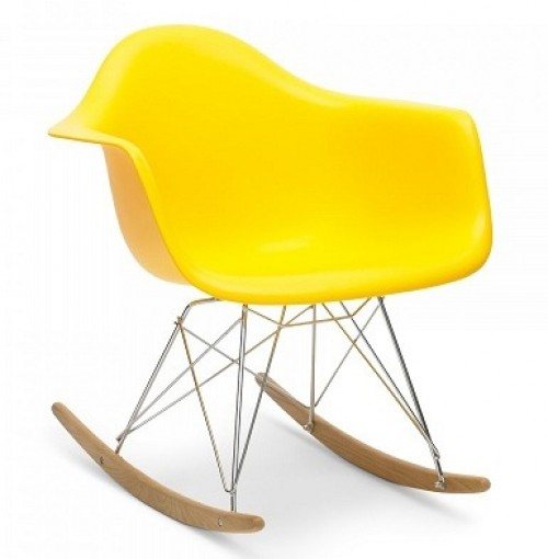 Eames Style RAR Molded Light Yellow Plastic Rocking Chair with Steel Eiffel Legs