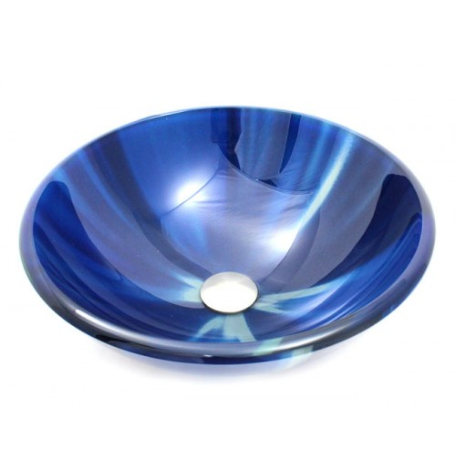 Blue Vortex Design Glass Countertop Bathroom Lavatory Vessel Sink - 16-1/2 x 5-3/4 Inch
